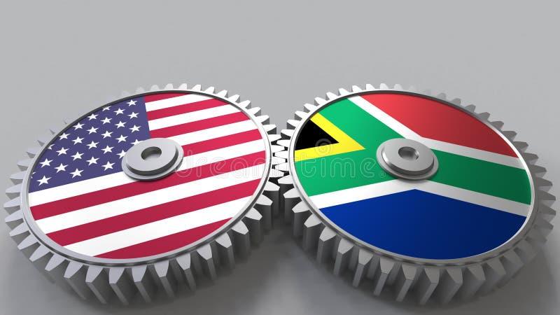 Flaggor av USA och Sydafrika på att koppla ihop kugghjul Begreppsmässig tolkning 3D för internationellt samarbete royaltyfri illustrationer