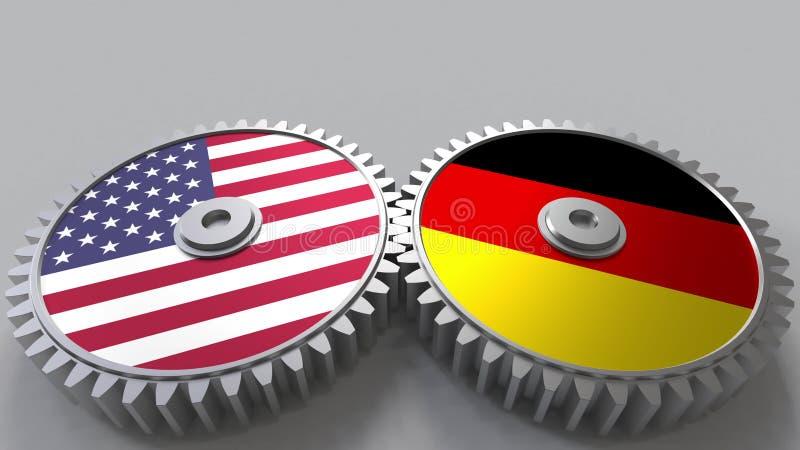 Flaggor av USA och Tyskland på att koppla ihop kugghjul Begreppsmässig tolkning 3D för internationellt samarbete stock illustrationer