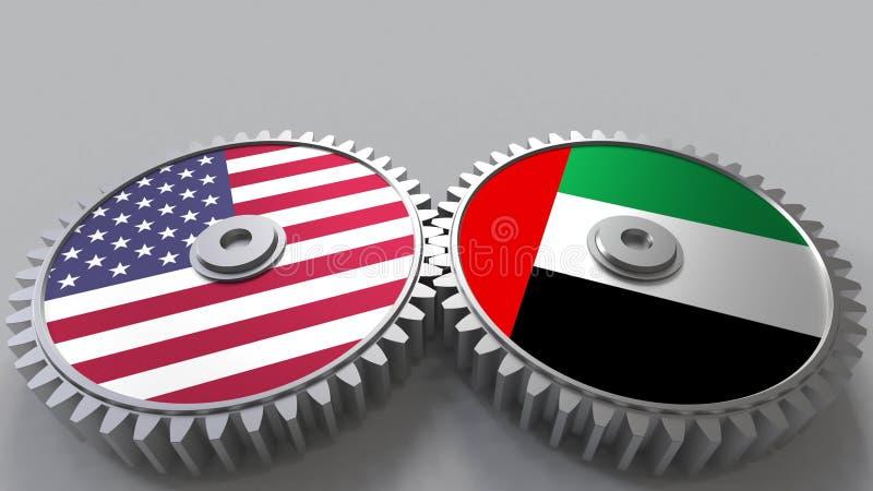 Flaggor av USA och UAE på att koppla ihop kugghjul Begreppsmässig tolkning 3D för internationellt samarbete stock illustrationer