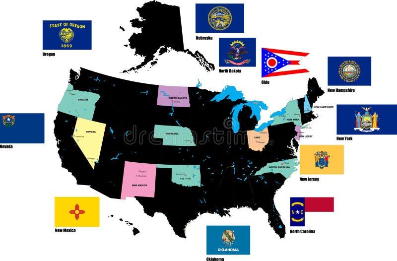 Flaggor av USA tillstånden vid alfabet vektor illustrationer