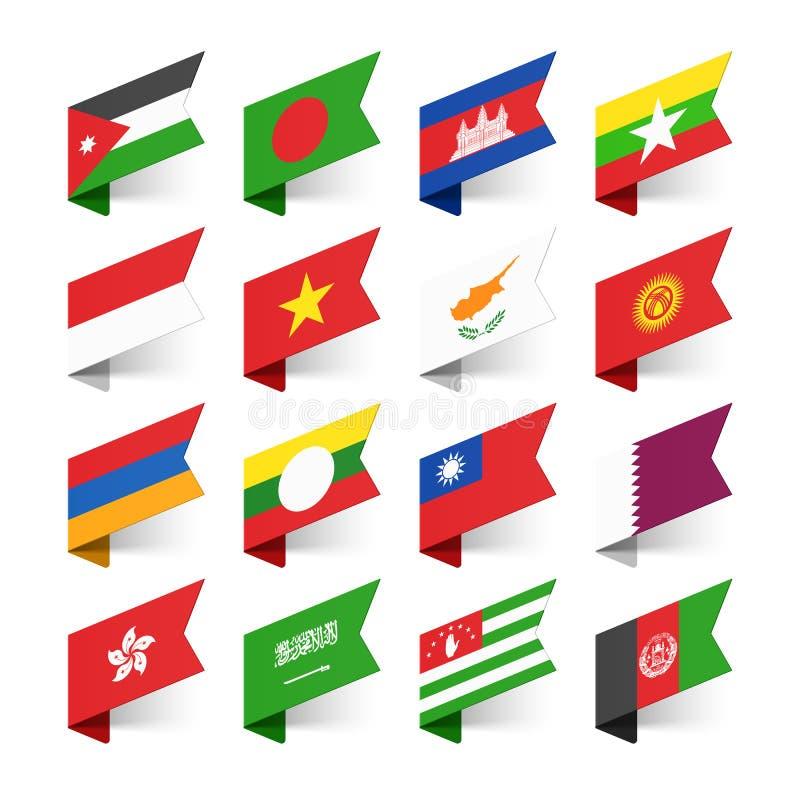 Flaggor av världen, Asien stock illustrationer