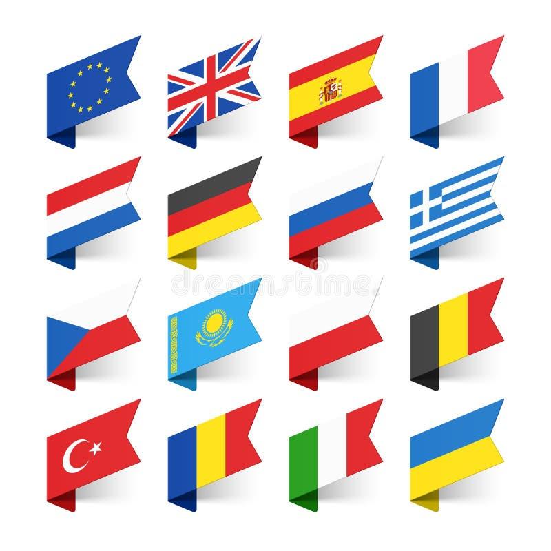 Flaggor av världen, Europa royaltyfri illustrationer