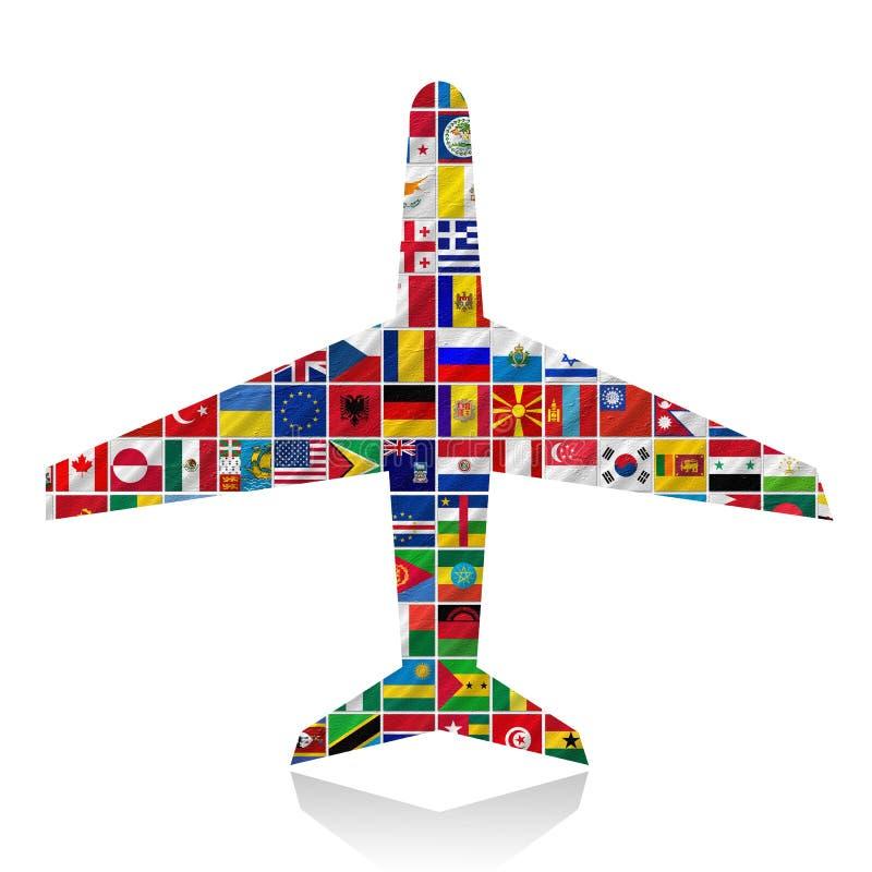 Flaggor av världen med symbolsseten vektor illustrationer