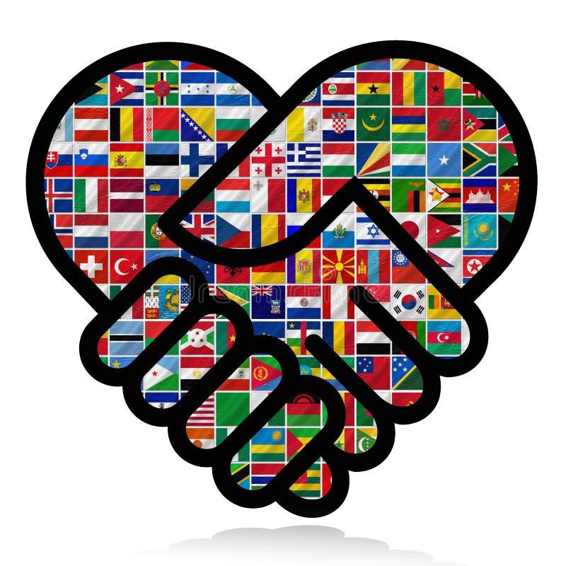 Flaggor av världen med symbolsseten stock illustrationer