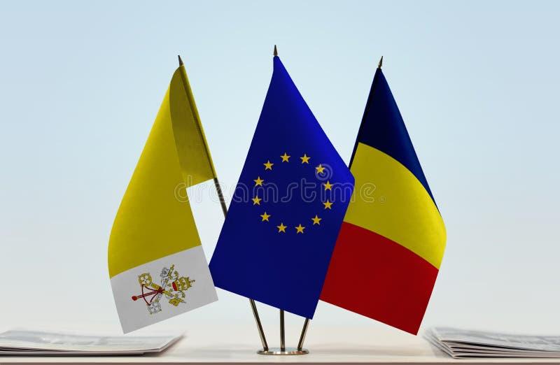 Flaggor av Vatican City EU och Tchad royaltyfri bild