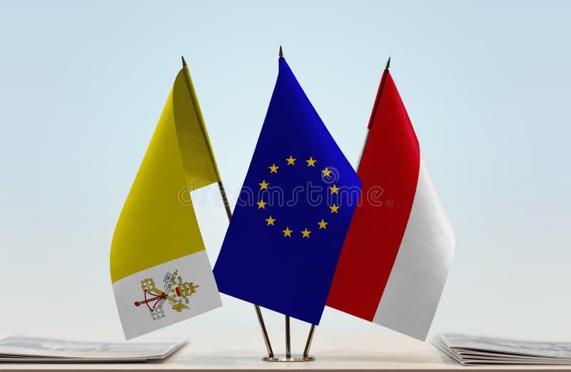 Flaggor av Vatican City europeisk union och Monaco stock illustrationer