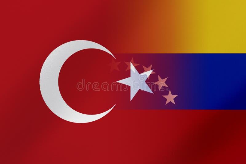 Flaggor av Venezuela och Turkiet, som kommer visa tillsammans ett begrepp, som betyder handel som är politisk, eller andra förhål arkivbild