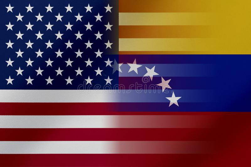 Flaggor av Venezuela och USA, som kommer visa tillsammans ett begrepp, som betyder handel som är politisk, eller andra förhålland royaltyfri illustrationer