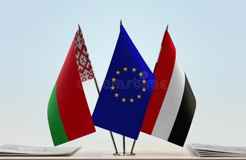 Flaggor av Vitryssland europeisk union och Yemen arkivfoto