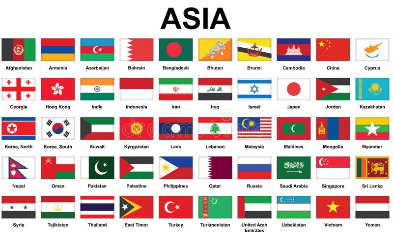 Flaggor för asiatiska länder royaltyfri illustrationer