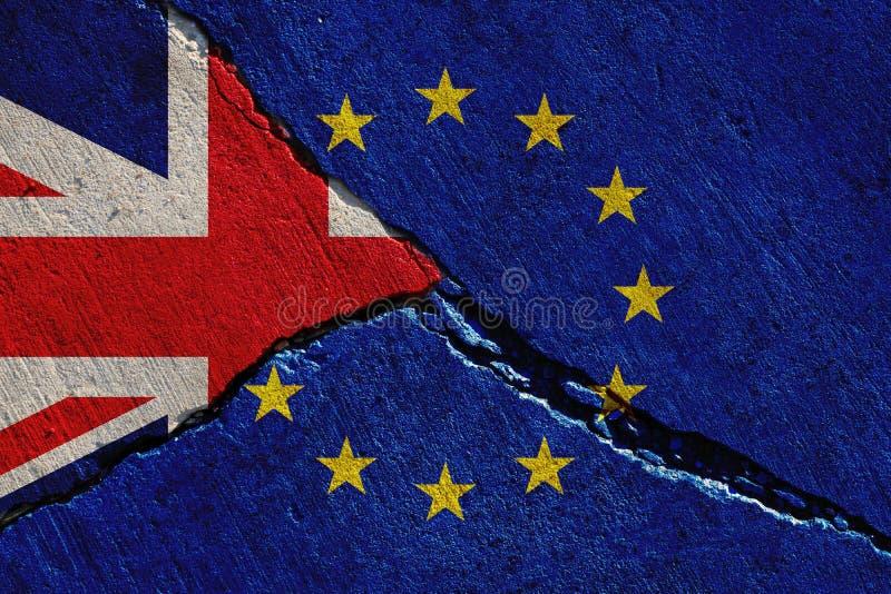 Flaggor för Brexit begrepps-, Förenade kungariket och Europa union arkivbild