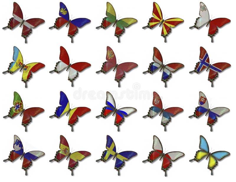 flaggor för fjärilscollageeuropean vektor illustrationer