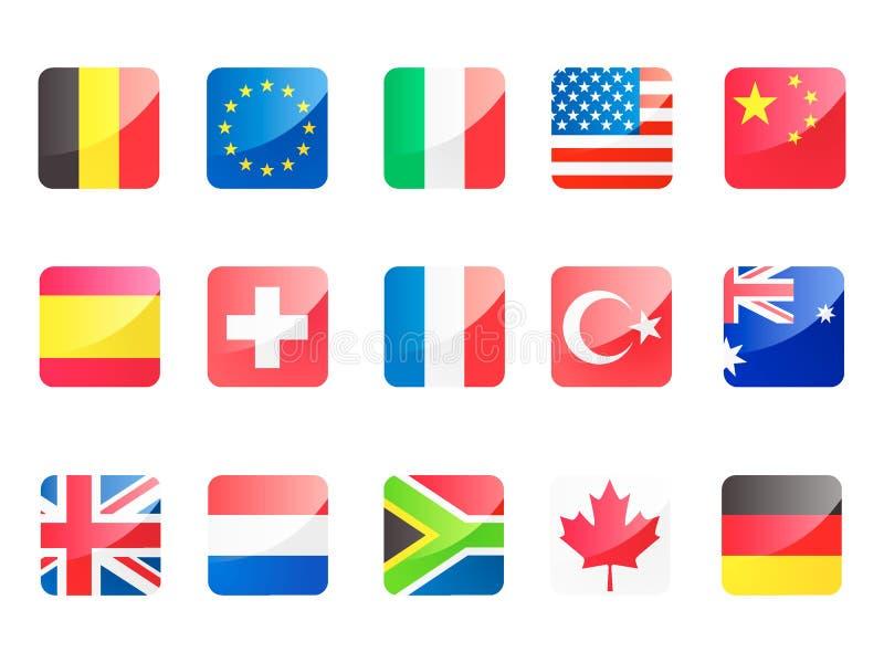 flaggor för fyrkant 3D ställde in av mest kraftiga länder i världen royaltyfri illustrationer