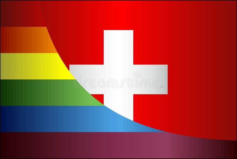 Flaggor för Grunge Schweiz och bög royaltyfri illustrationer