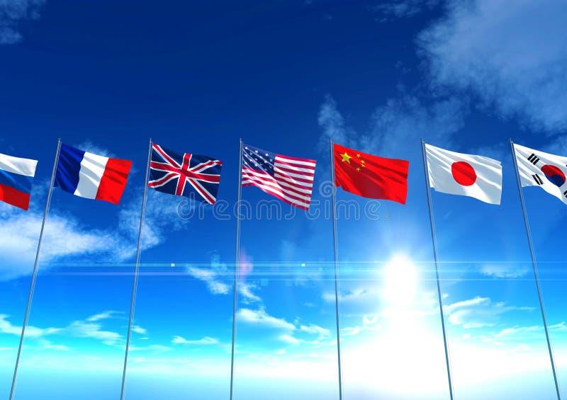 Flaggor för internationellt land under blå himmel arkivbild