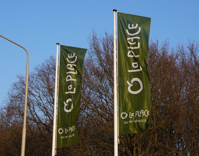 Flaggor för Laställerestaurang royaltyfri fotografi