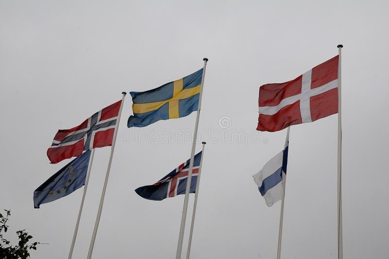 FLAGGOR FÖR NORDISKA LÄNDER arkivbilder