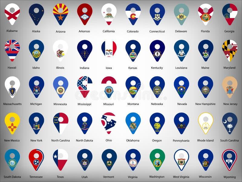 Flaggor för tillstånd för USA amerikan femtio - alfabetisk ordning med namn Ställ in av geolocationtecken som flaggor av tillstån royaltyfri illustrationer