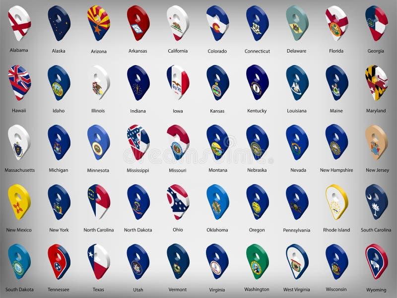 Flaggor för tillstånd för USA amerikan femtio - alfabetisk ordning med namn Ställ in av tecken för geolocation 3d som flaggor av  stock illustrationer