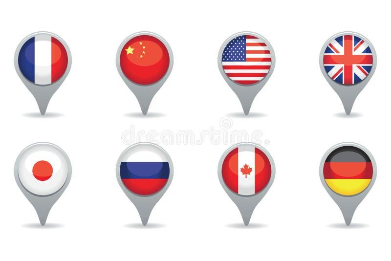 Flaggor för toppen överhet stock illustrationer