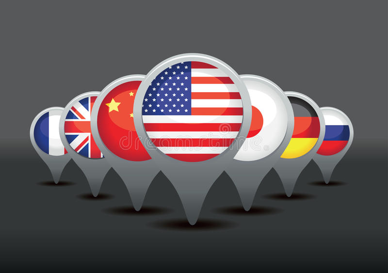 Flaggor för toppen överhet vektor illustrationer