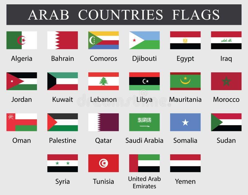 Flaggor f?r arabiska l?nder vektor illustrationer