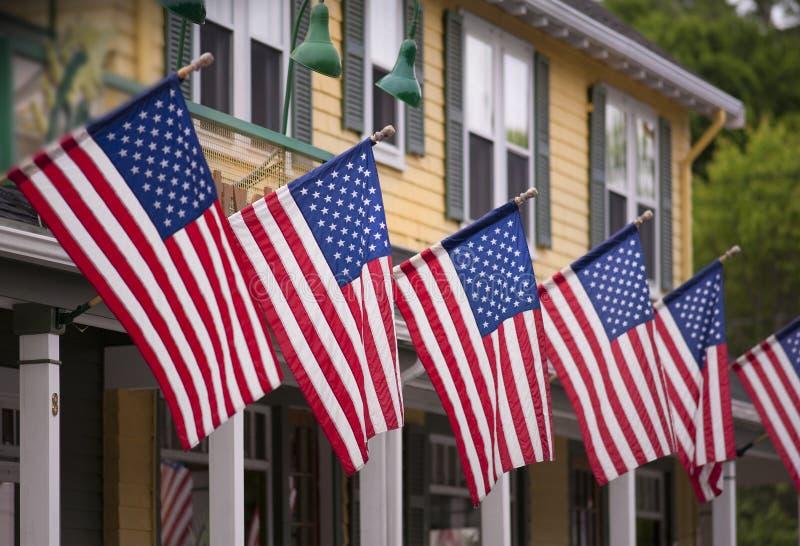 flaggor fjärde juli royaltyfri fotografi