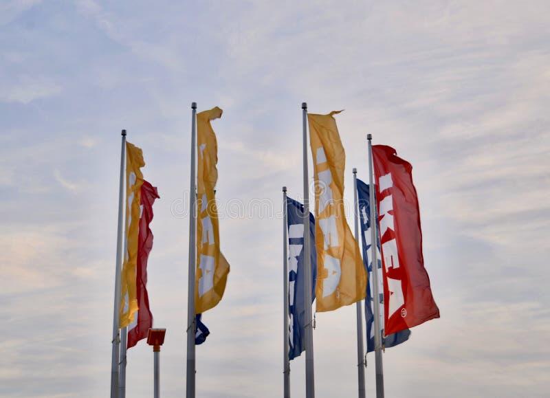 Flaggor Ikea för hem- inredningar royaltyfria foton