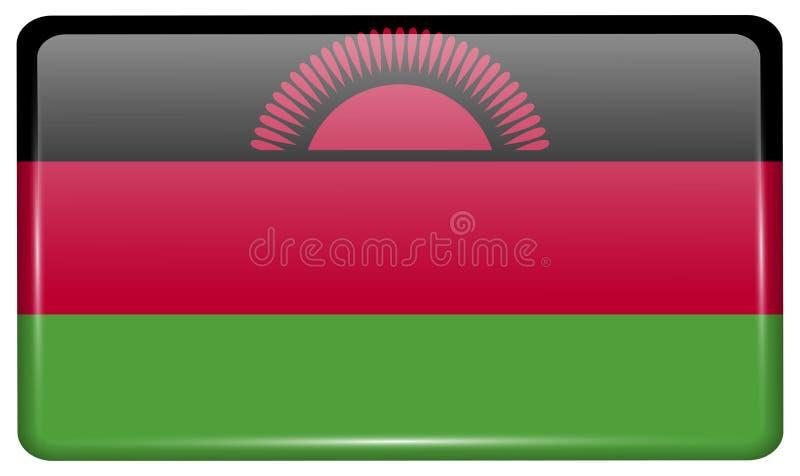 Flaggor Malawi i form av en magnet på kylskåpet med reflexioner tänder vektor illustrationer