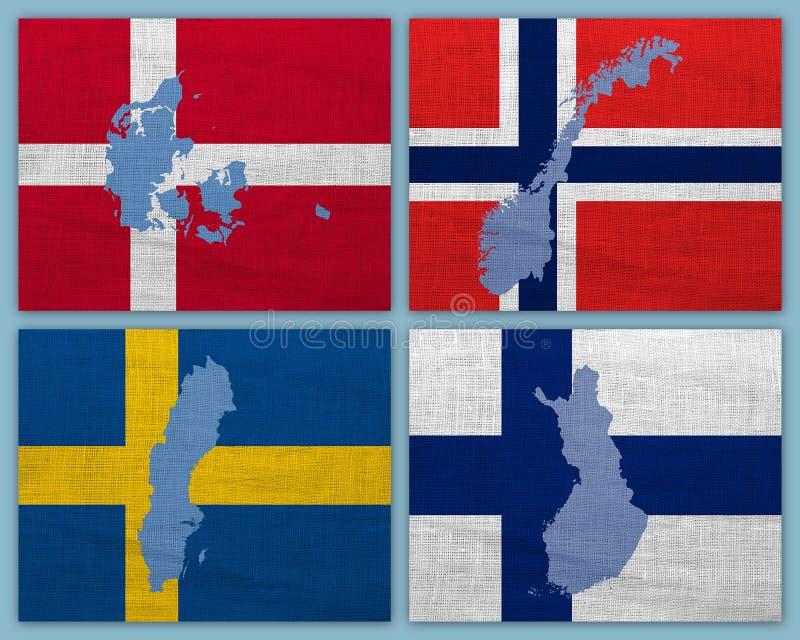 Flaggor och översikter av skandinaviska länder arkivbild