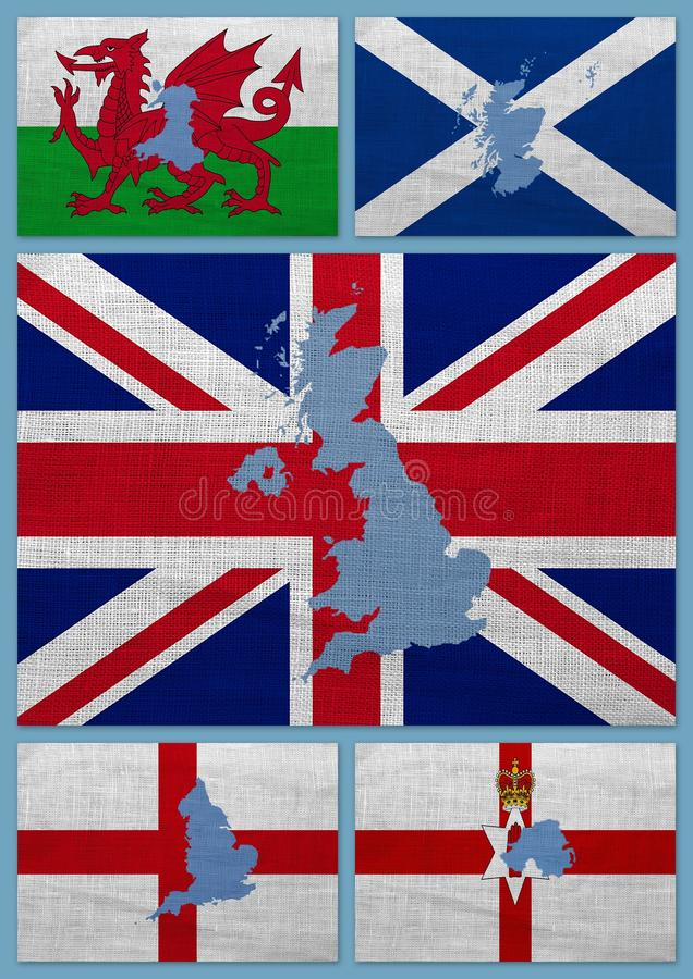 Flaggor och översikter av United Kingdom länder arkivfoton