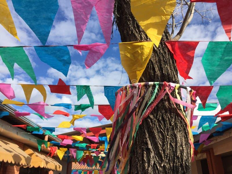 Flaggor och himmel på det Juni partiet royaltyfri bild