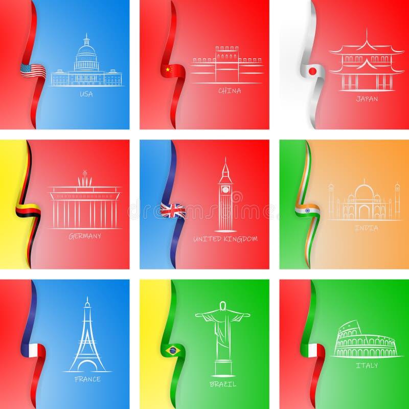 Flaggor och sikt av olika landssymboler i den fastställda samlingen för design Berömd byggande vektorsymbolrengöringsduk vektor illustrationer