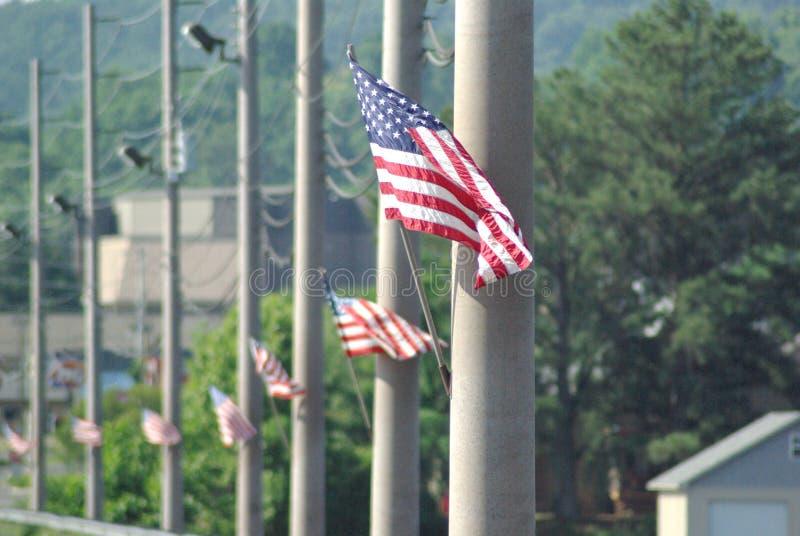 Flaggor på en vägbank arkivbilder