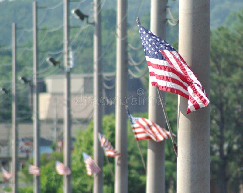 Flaggor på en vägbank royaltyfri fotografi