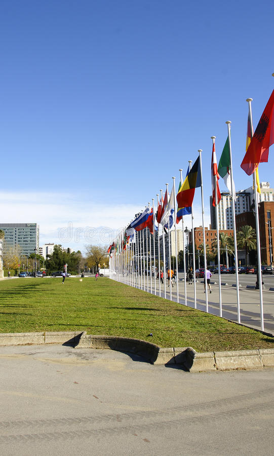 Flaggor på gatan royaltyfria foton
