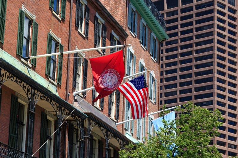 Flaggor på nordöstra universitet royaltyfria foton