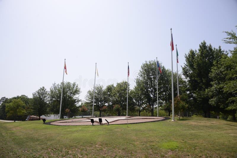Flaggor på Texas Welcome Center arkivfoton