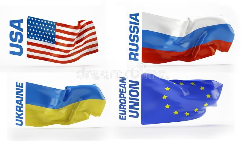 Flaggor Ryssland USA, Ukraina, europeisk union royaltyfri illustrationer