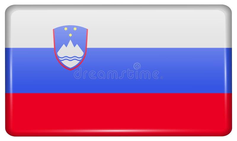 Flaggor Slovenien i form av en magnet på kylskåpet med reflexioner tänder royaltyfria bilder