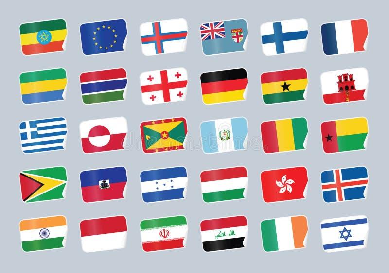 flaggor ställde in världen stock illustrationer
