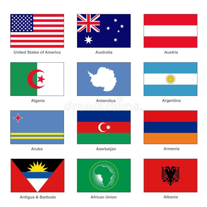flaggor ställde in världen Känt land av bokstav A vektor vektor illustrationer