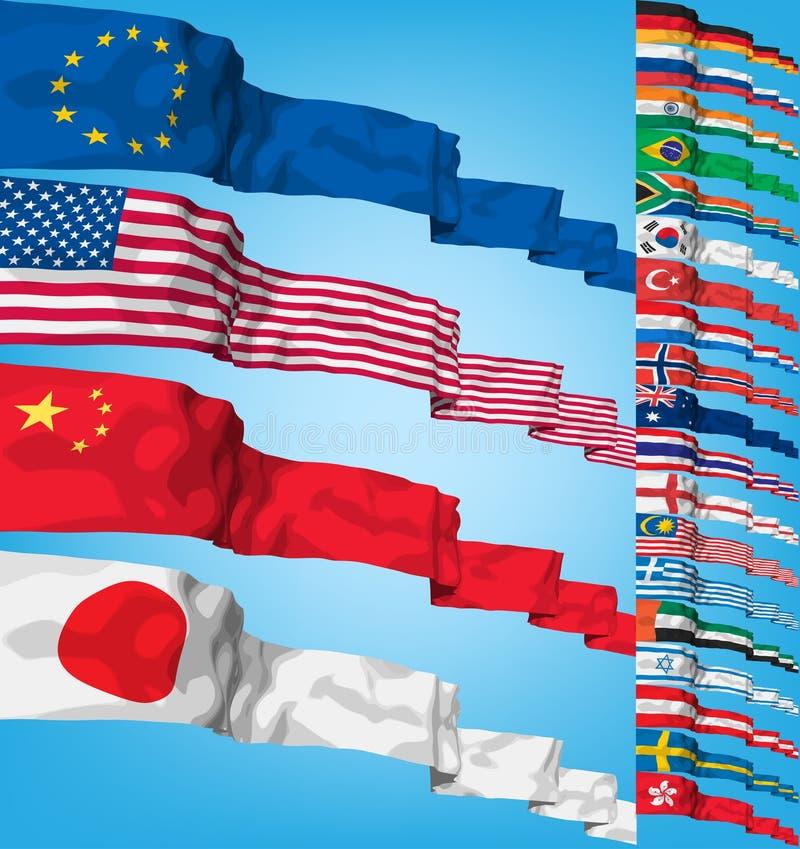 flaggor ställde in vektorvärlden royaltyfri illustrationer
