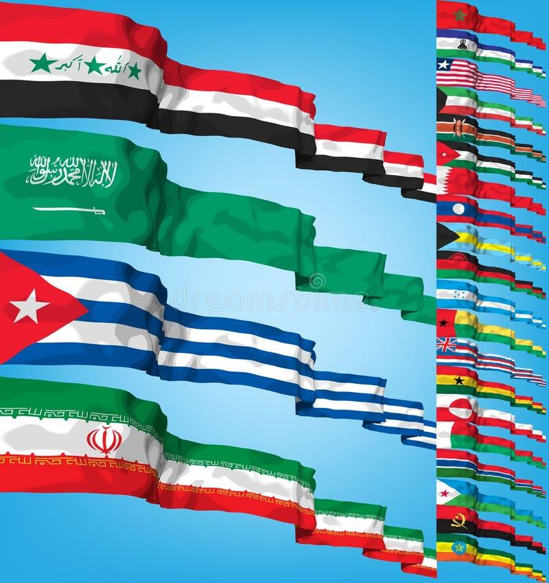 flaggor ställde in vektorvärlden stock illustrationer