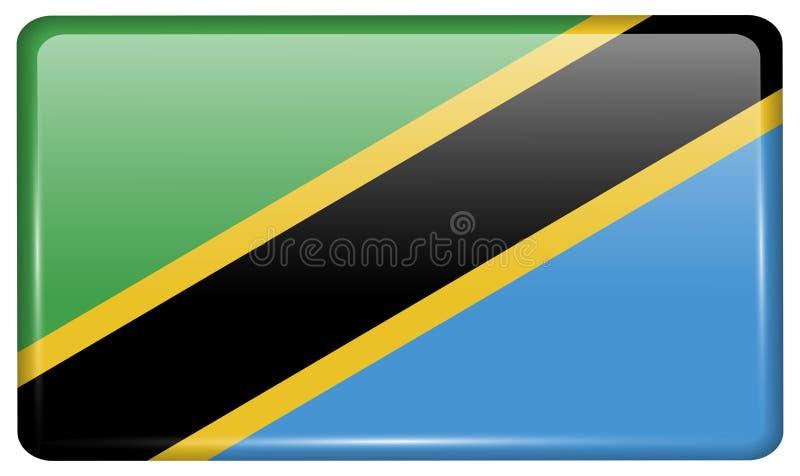 Flaggor Tanzania i form av en magnet på kylskåpet med reflexioner tänder royaltyfri fotografi