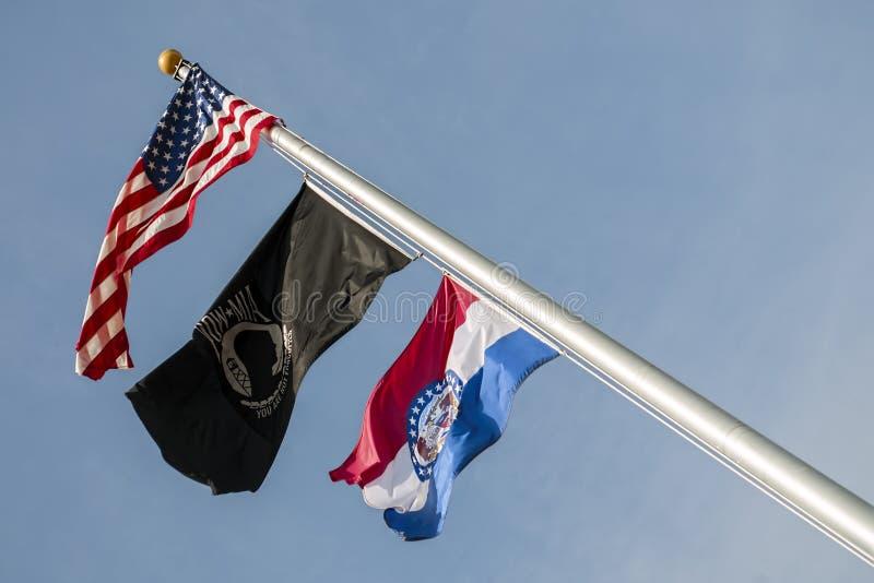 Flaggor USA, Missouri, pow, mia, royaltyfri bild