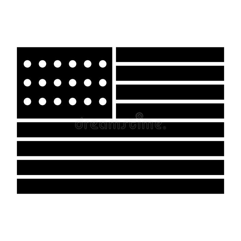 Flagi amerykańskiej bryły ikona USA wektorowa ilustracja odizolowywająca na bielu Ameryka glifu stylu projekt, projektujący dla s ilustracji