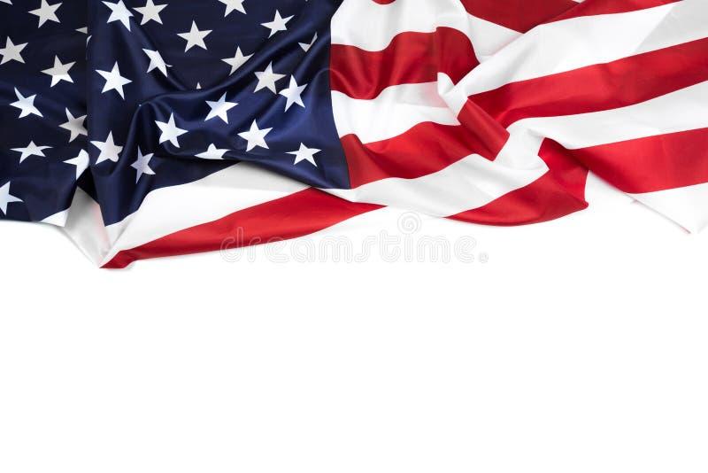 Flagi amerykańskiej granica odizolowywająca na bielu - wizerunek zdjęcie royalty free