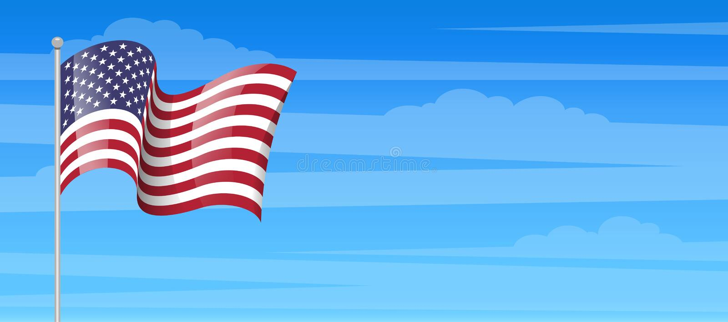 Flagi amerykańskiej wykałaczki ikona Zlana stan flaga z słupem odizolowywającym ilustracji