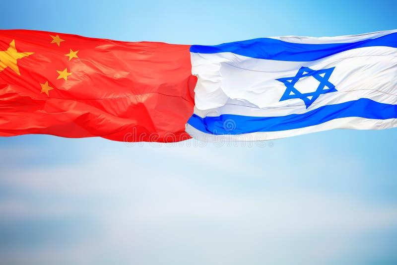 Flagi Chin i Izraela zdjęcie stock